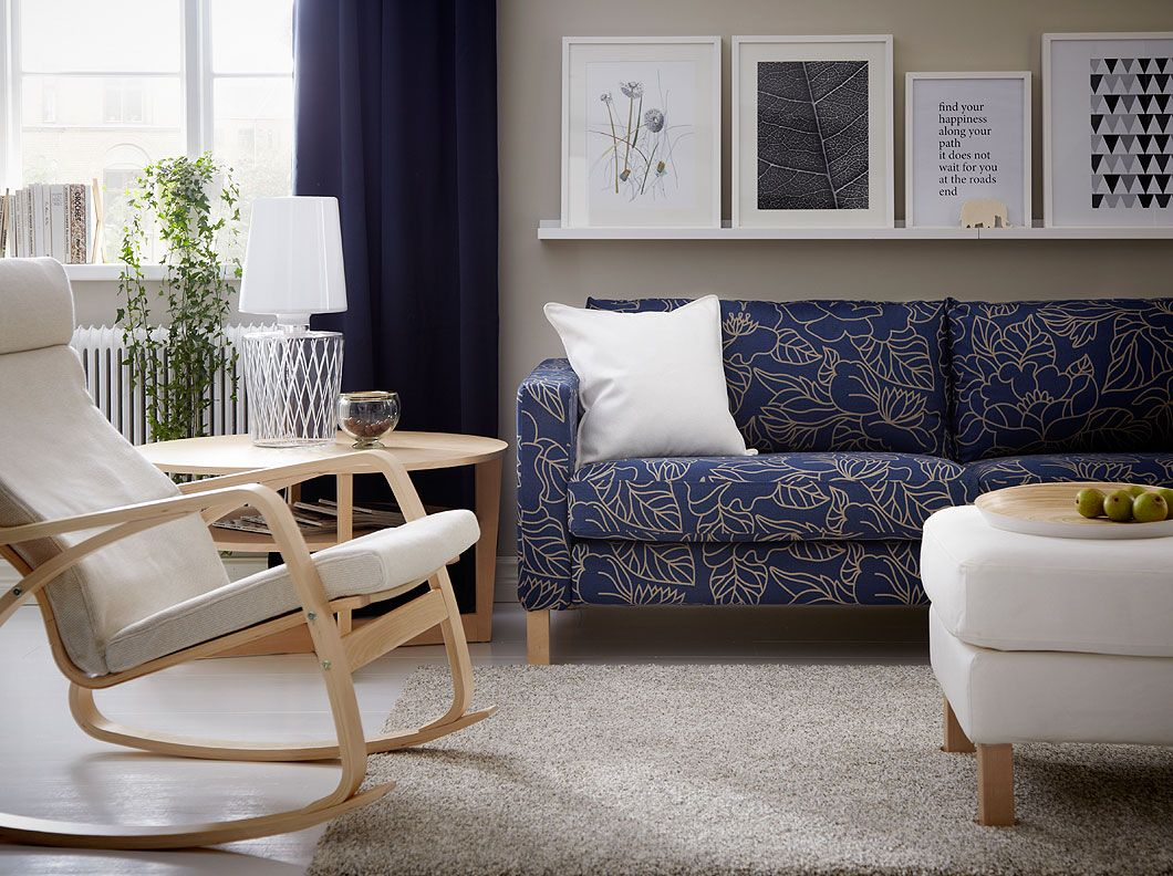 Poang chair living room - Karlstad Three Seat Sofa With Blad Ker Blue Beige Cover Po Ng Rocking Chair