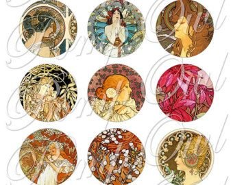 """1"""" circles Digital Collage Sheets Alfons Mucha Printable Fine Art painting images for Art Nouveau Pendant Jewelry Glass Magnets DIY po00025"""