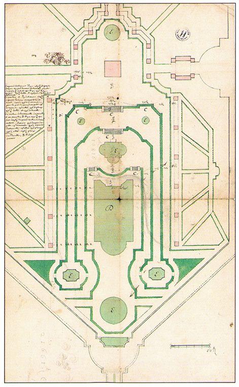 Fig 2  Antoine Lescuyer (attribué à), Plan de Marly, 1679, dessin