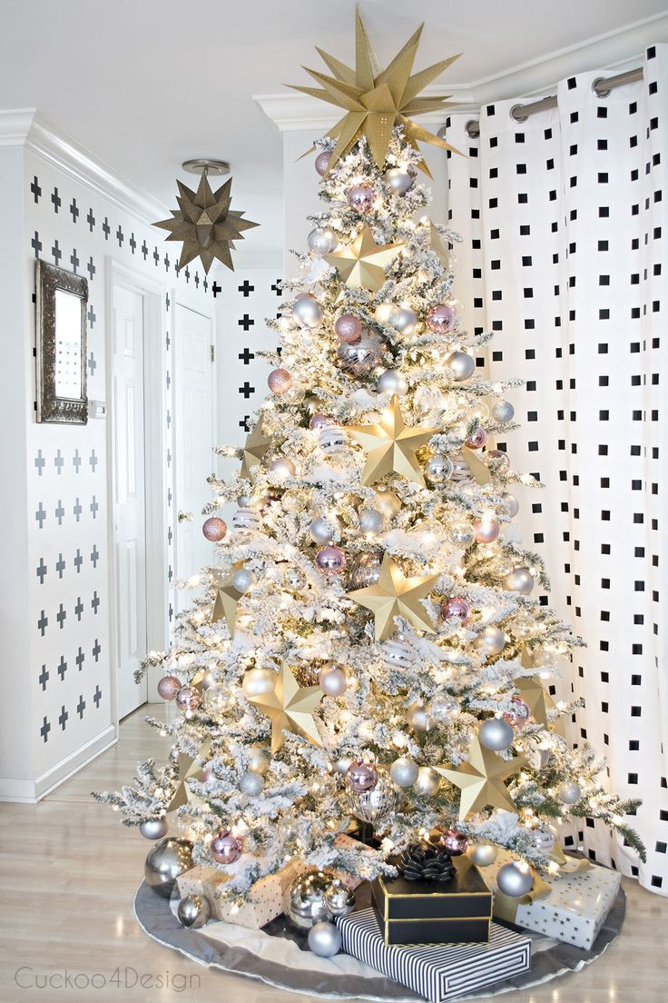 Better Home And Gardens Christmas Ideas Better homes and gardens christmas ideas home tour flocked better homes and gardens christmas ideas home tour flocked christmas trees gold paper and paper stars workwithnaturefo