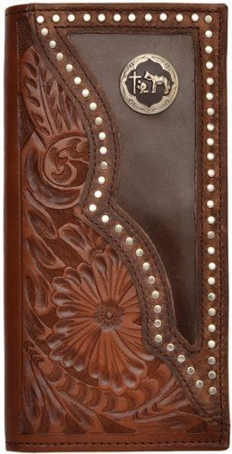 Mens Western Wallet Hand Tooled Leather with Praying Cowboy