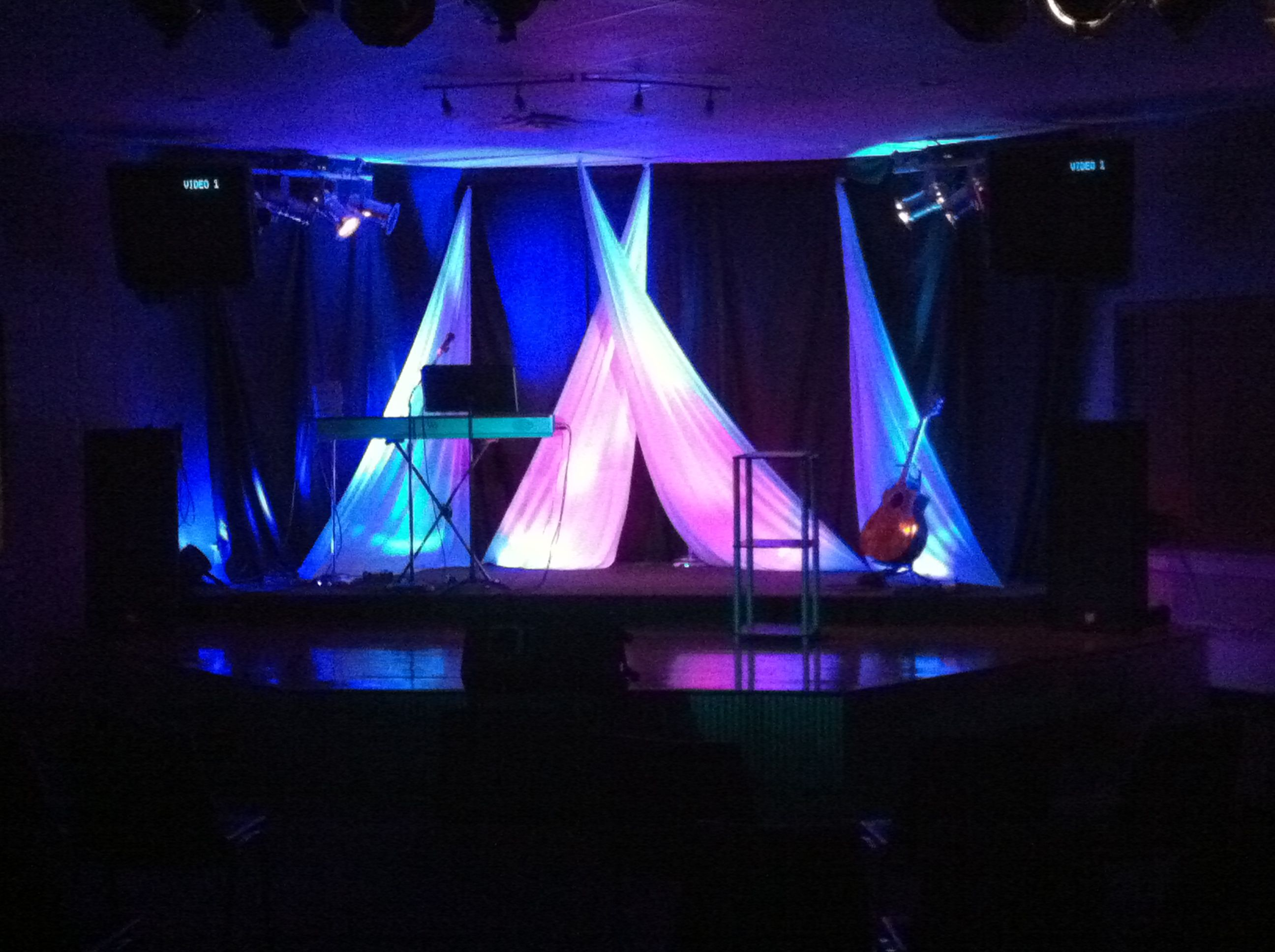 cheap church stage design ideas they pinned the other corners to the floor and hid - Small Church Stage Design Ideas