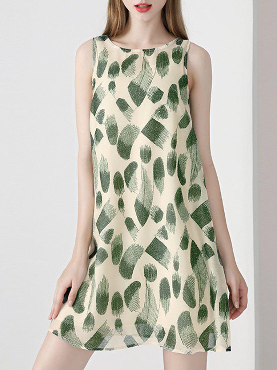 1e503abe3eb8 Stylewe Summer Green Sleeveless Shift Daily Casual Printed Mini Dress