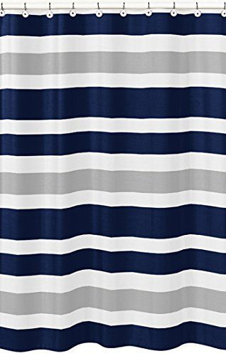 Robot Check Striped Shower Curtains Boys Bathroom Blue Shower Curtains