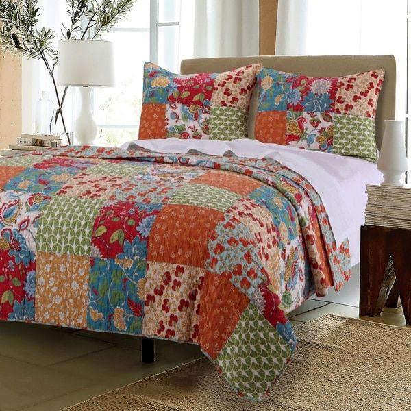 Greenland Home Fashions Terra Blossom 100-percent Cotton Quilt Set ... : the cotton quilt - Adamdwight.com