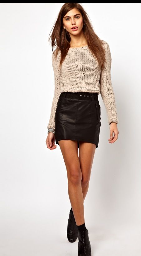 Leather skirt and jumper combo | Leather | Pinterest | Leather ...
