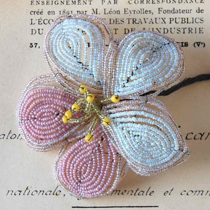 Pink & Pale Blue Beaded Flower | Rose Mille
