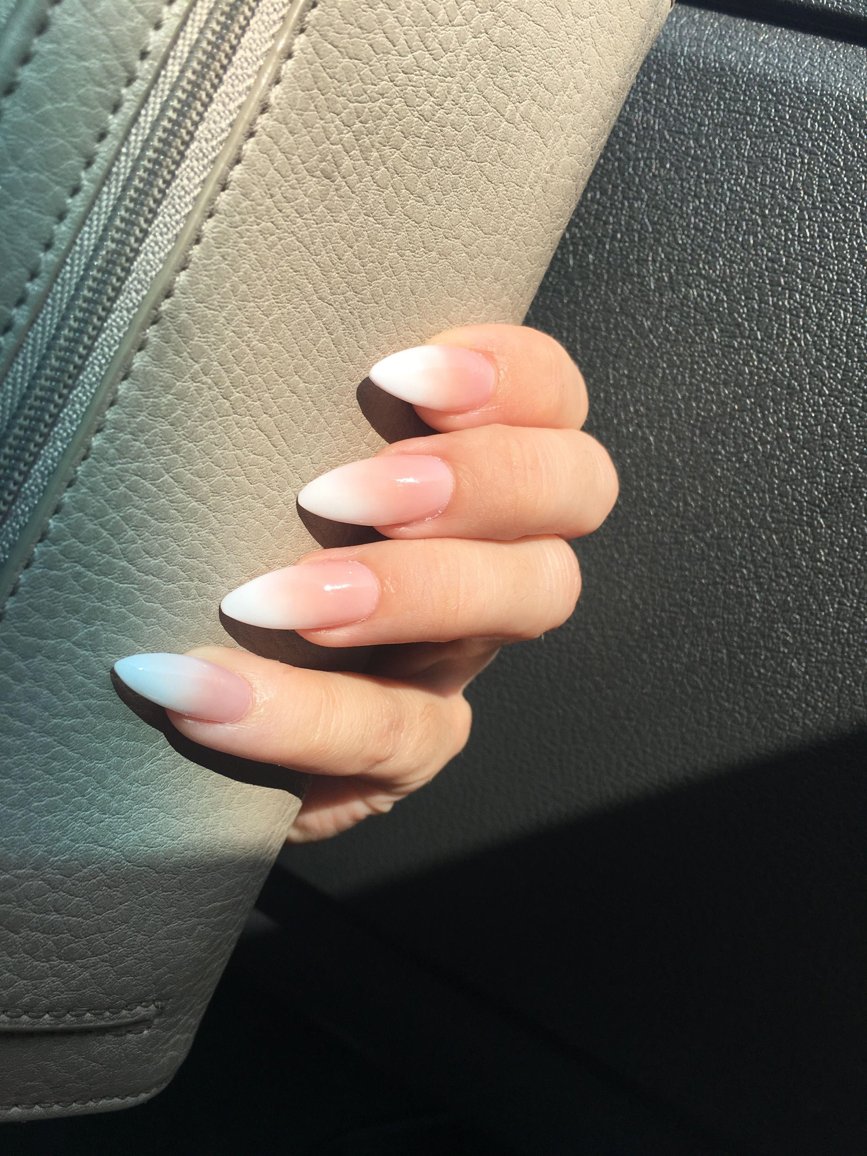 Nails Nails Acrylicnails Ombre Almondnails Stilettonails Frenchmanicure White Tip Nails Almond Acrylic Nails Almond Nails Designs