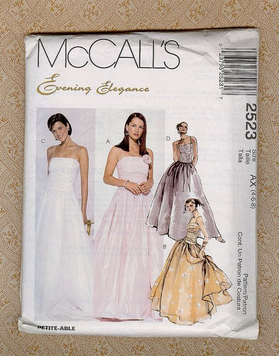 Prom Dress Formal Evening Gown Sewing Pattern McCall\'s 2523 Evening ...