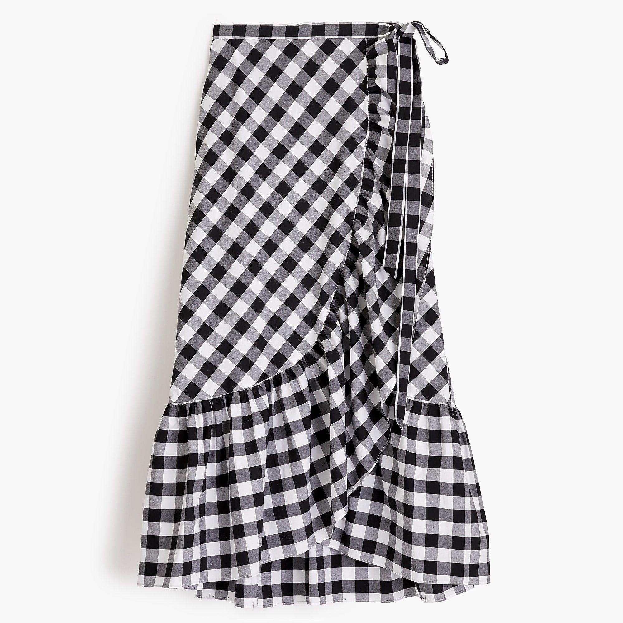 J.Crew Gingham ruffle wrap skirt | Pinterest | Gingham, Ruffles and ...