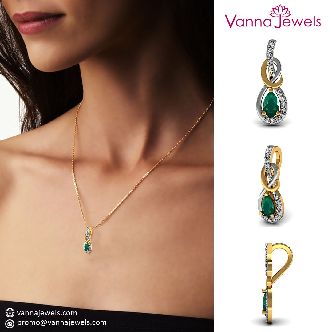 Vannjewels collection emerald gemstone designer pendant chain