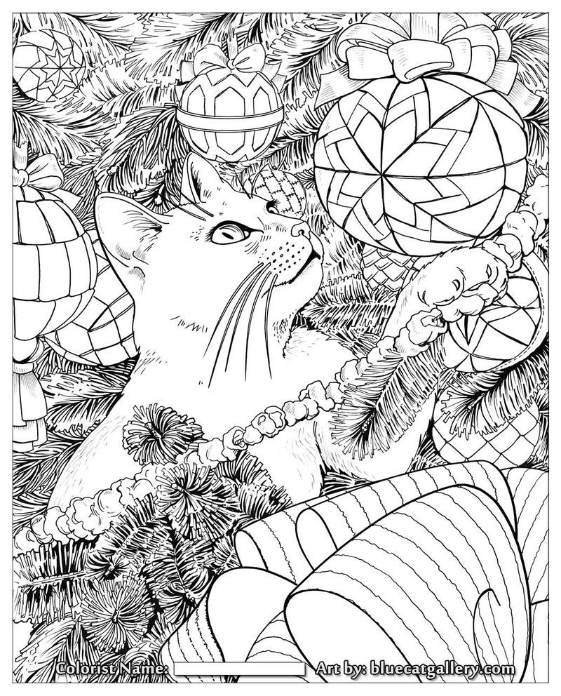 Kitty In Christmas Tree Coloring Page For Adults Christmas Coloring Pages Christmas Tree Coloring Page Tree Coloring Page