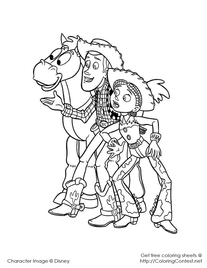 Woody and Jessie | Toy story coloring pages