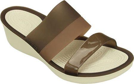 Women's Crocs ColorBlock Wedge - Mahogany/Stucco Casual Shoes