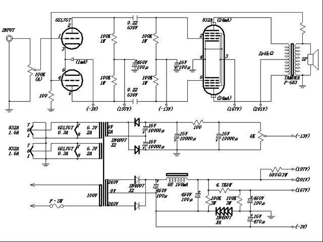 6SL7・832A/FU32 プッシュプルアンプ 自作真空管アンプ製作記
