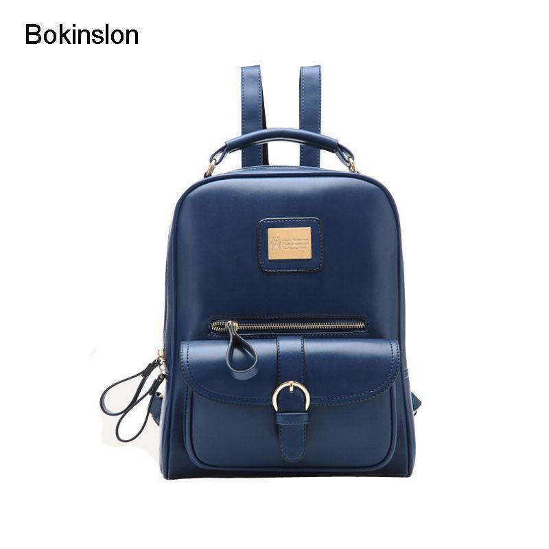 74adc873ac2e Bokinslon Backpacks Brand Womens Fashion Classic Retro Women Backpack Bag  College Wind PU Leather School Girl