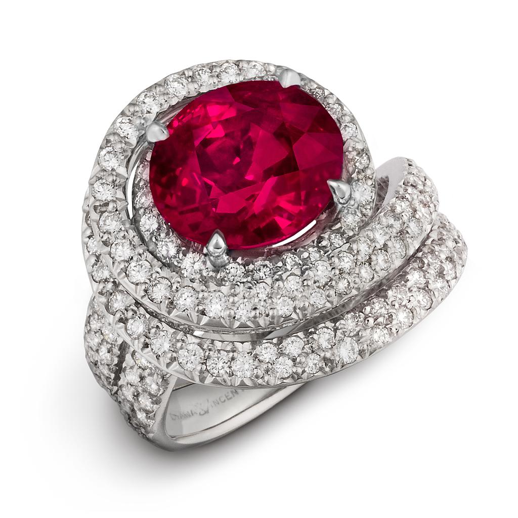 Natural Burma Ruby and Diamond Ring Blue sapphire