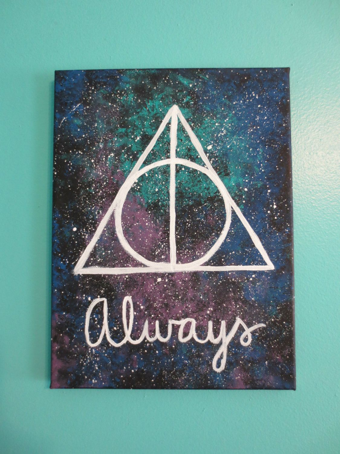 Harry Potter Deathly Hallows Always Galaxy by AnchorsAwayStudio, $20.00