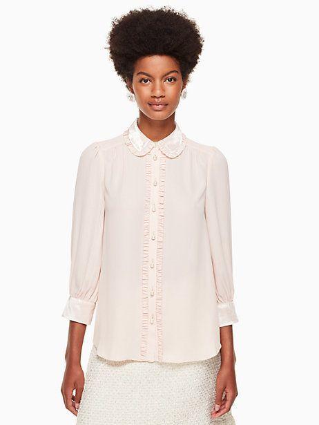 Kate Spade Velvet trim pearl button shirt