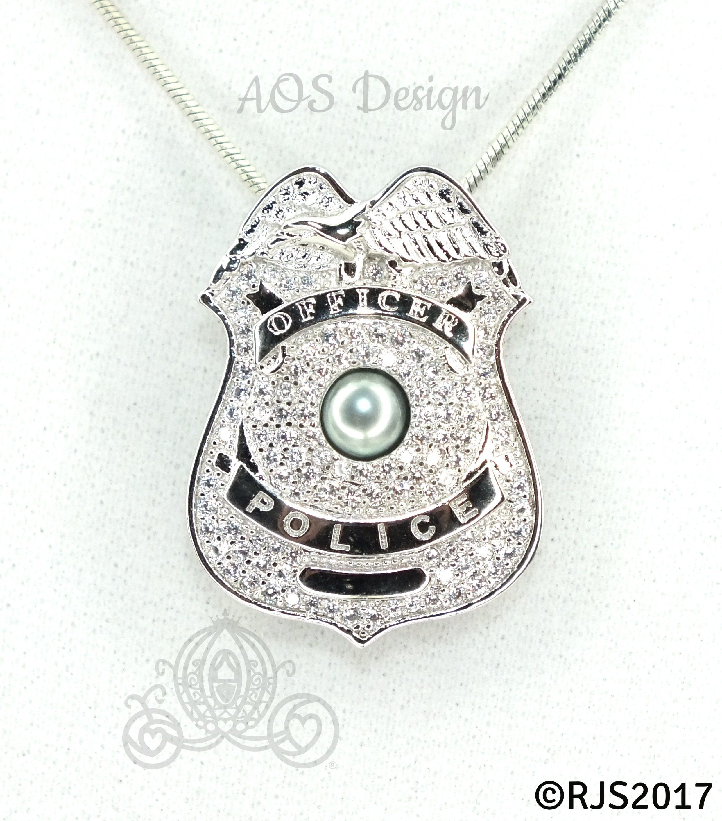 piece badge number designs my original blue heart digital with products police of pendant silver