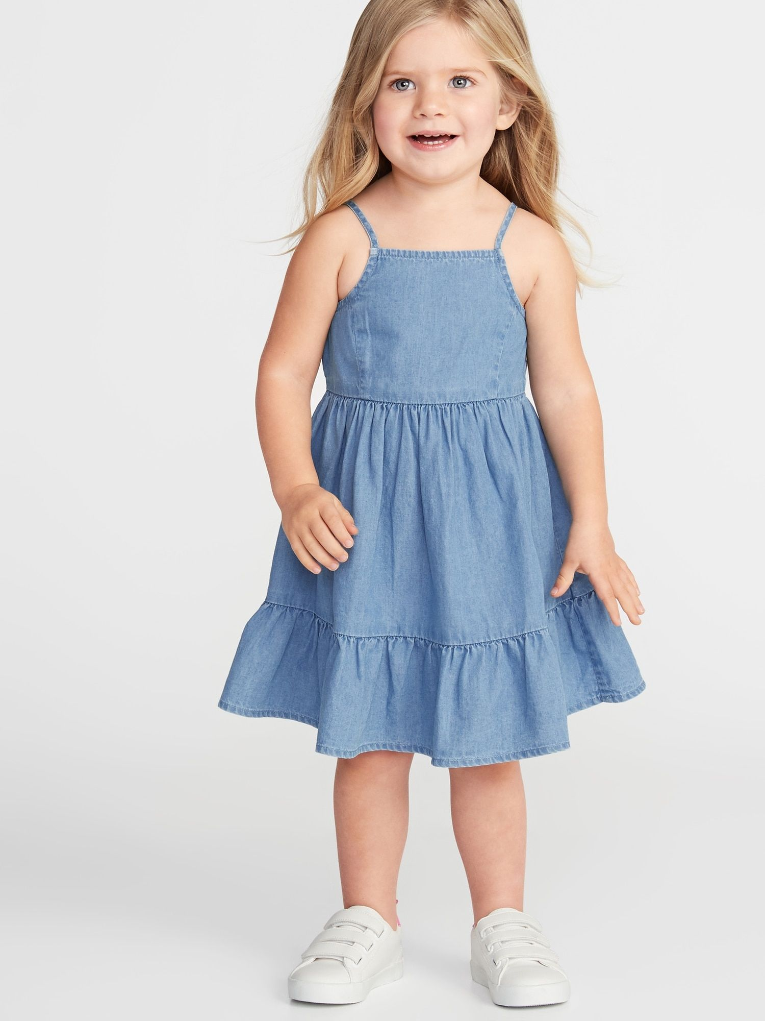 Tiered Chambray Fit Flare Dress For Toddler Girls Old Navy Toddler Girl Dresses Girl Outfits Toddler Dress
