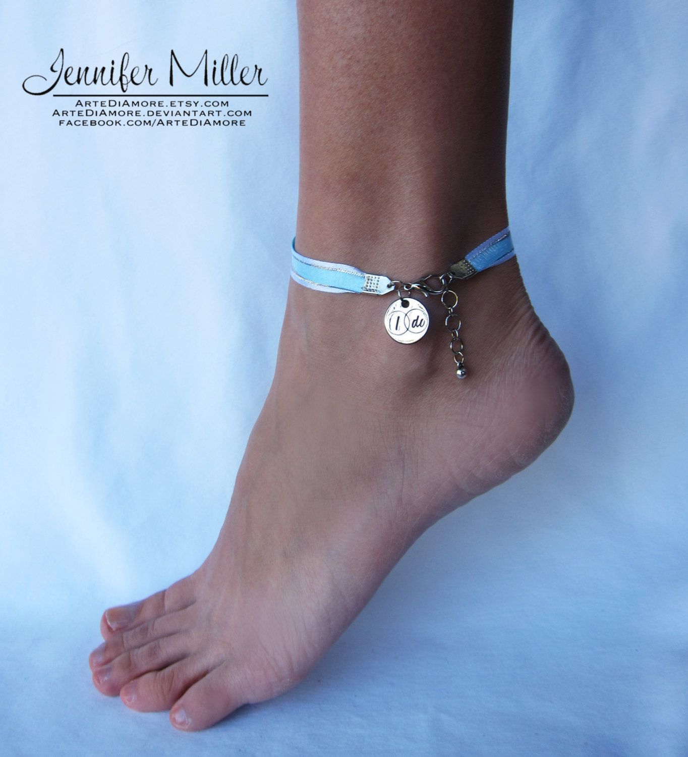 Something Blue I Do Ribbon Wedding Anklet for Bride Blue ribbon