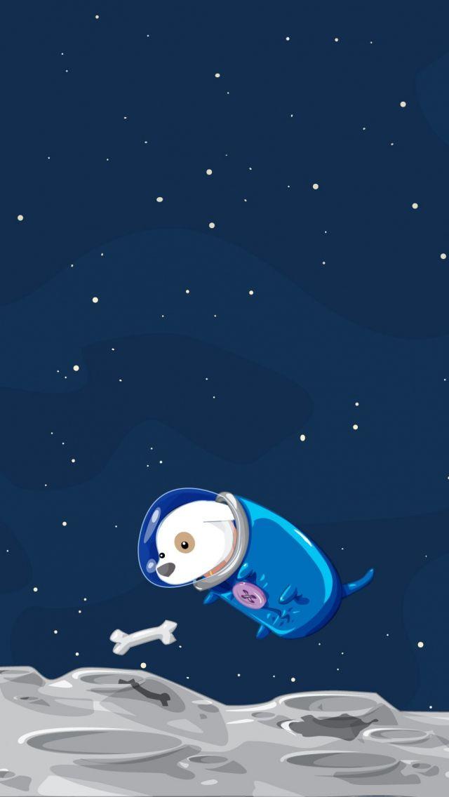 640x1136 Wallpaper dog, space, flight, sky, bone, suit