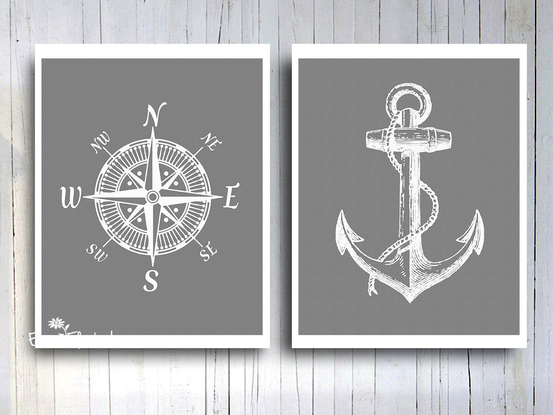 Nautical Compass Rose Anchor Art Print Rustic Vintage Gray