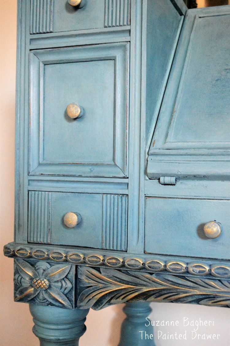 Vintage Desk In Combo Of Annie Sloan Aubusson Provence Duck Egg  # Muebles Efecto Vintage