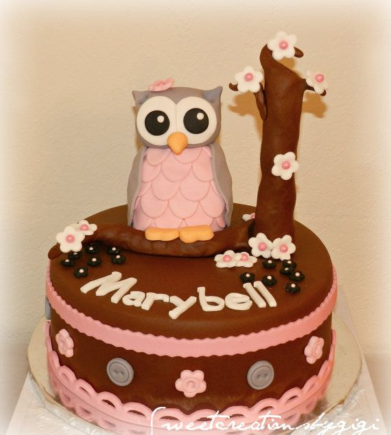 Super 3D Large Pink And Gray Owl Edible Cake By Sweetcreationsbygigi Personalised Birthday Cards Sponlily Jamesorg