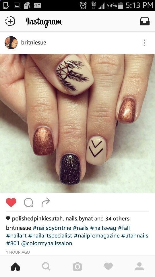Feathers | 22 Easy Fall Nail Designs for Short Nails | nail ...