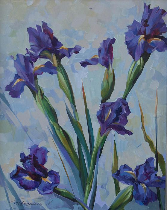 Purple Irises by Larisa Ivakina Clevenge