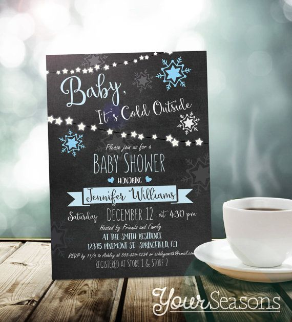 Winter Baby Shower Invitation - Personalized Printable DIGITAL FILE