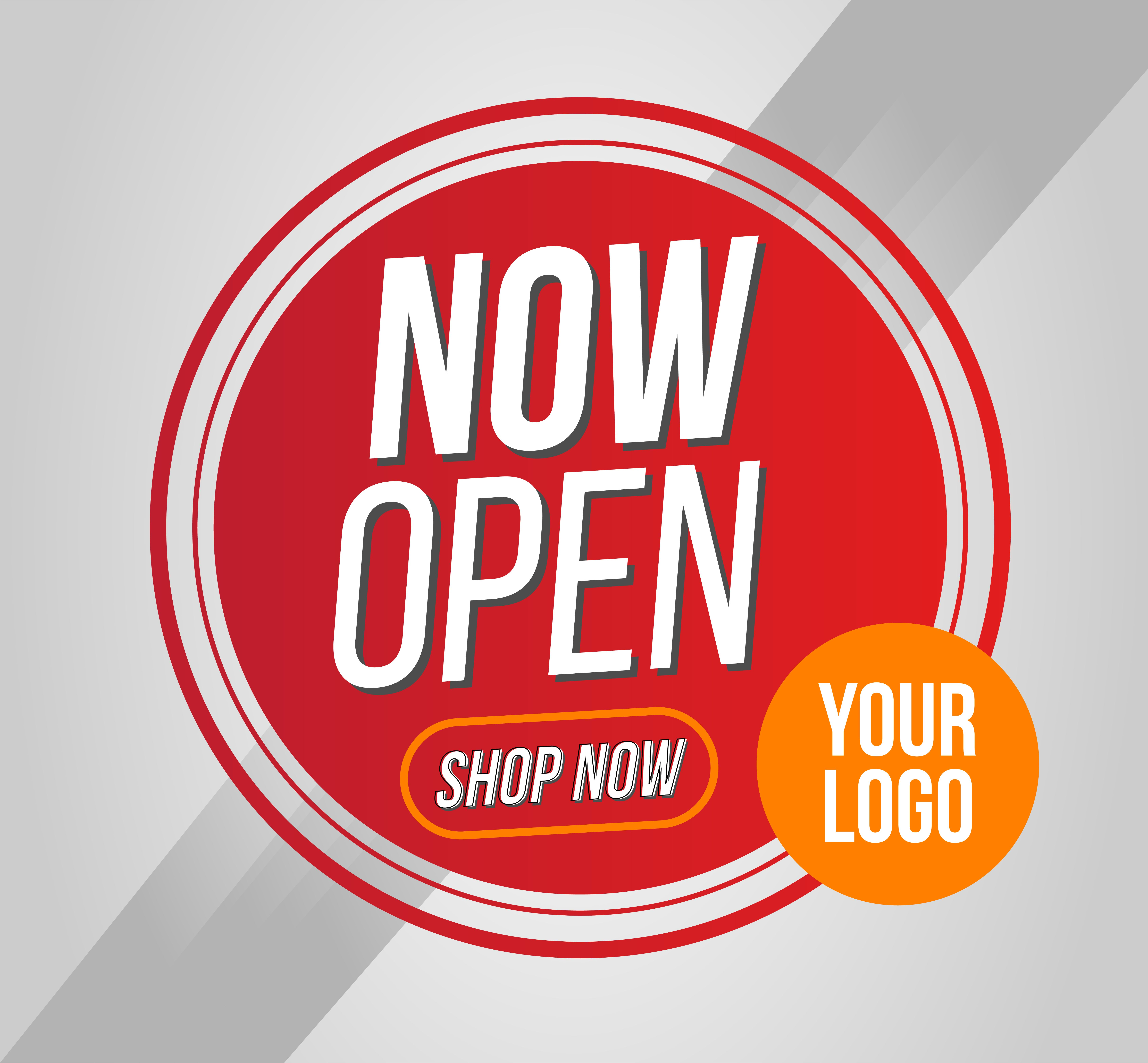Now Open Shop Or New Store Red And Orange Color Sign On White Background Template Design For Opening Event C In 2021 Banner Template Design Open Shop Medical Wallpaper