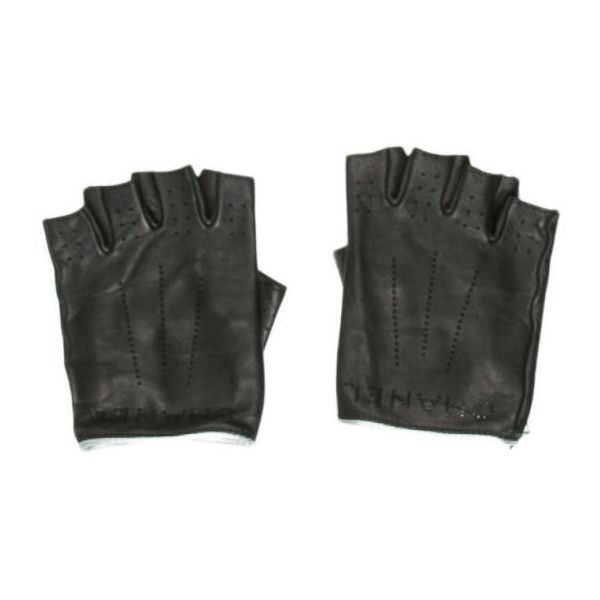 Pre-owned Chanel Perforated Fingerless Gloves (775 CAD) ❤ liked on Polyvore featuring accessories, gloves, black, chanel gloves, chanel, fingerless leather gloves, fingerless gloves and leather gloves