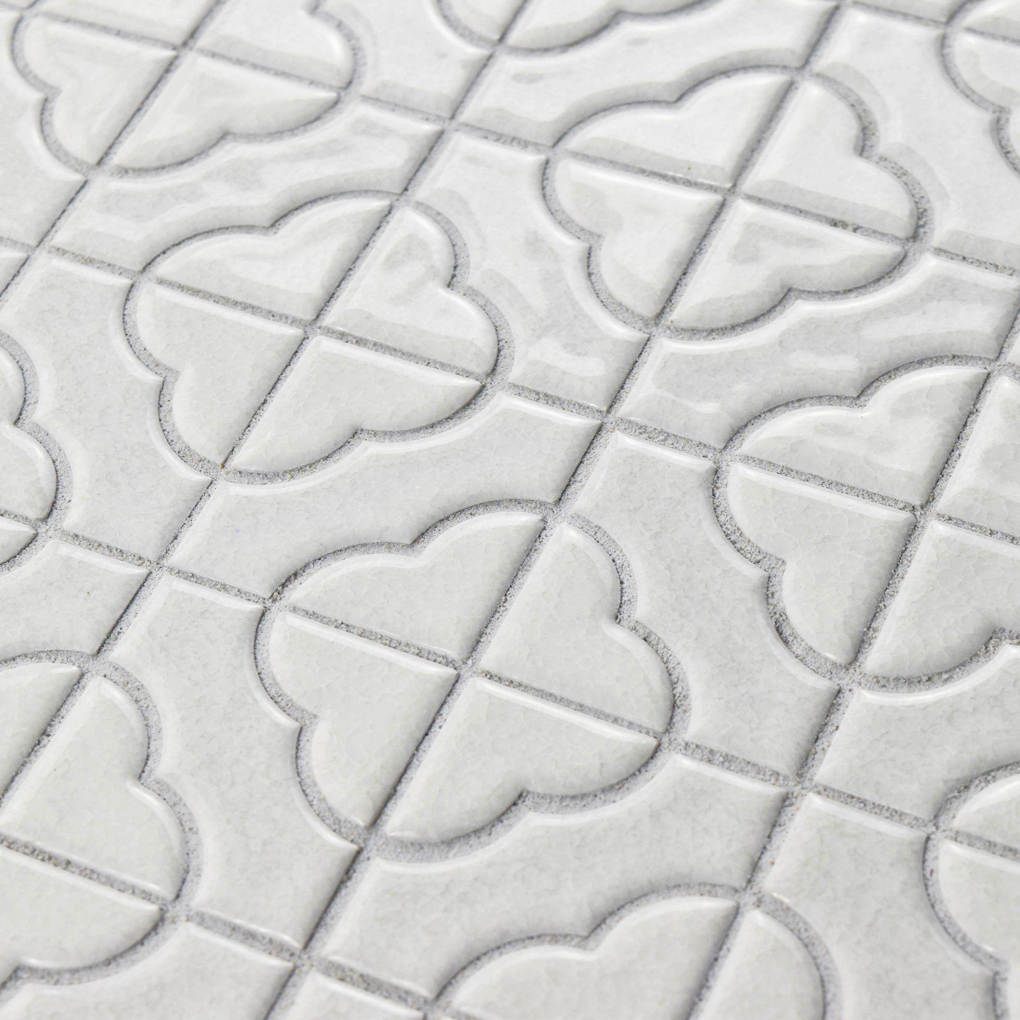 castle random sized porcelain mosaic tile in white | terb (kitchen