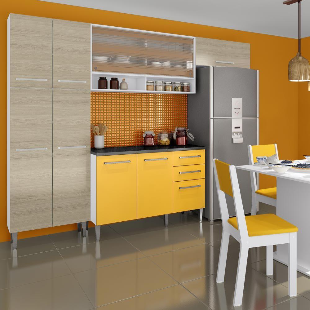 Gostou Desta Kit Cozinha Amarilis Elis Glamy 05 Pecas Amarelo