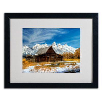 "Trademark Art ""Iconic Barn Grand Teton"" by Pierre Leclerc Framed Photographic Print Frame: Black, Size: 16"" H x 20"" W x 0.5"" D"
