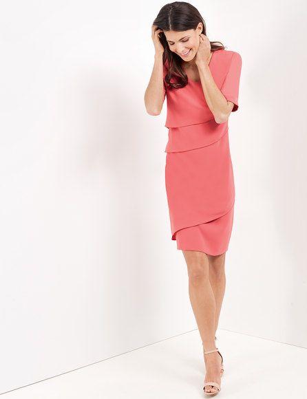 Kleid Mit Asymmetrischen Stufen Koralle Fashion Peplum Dress