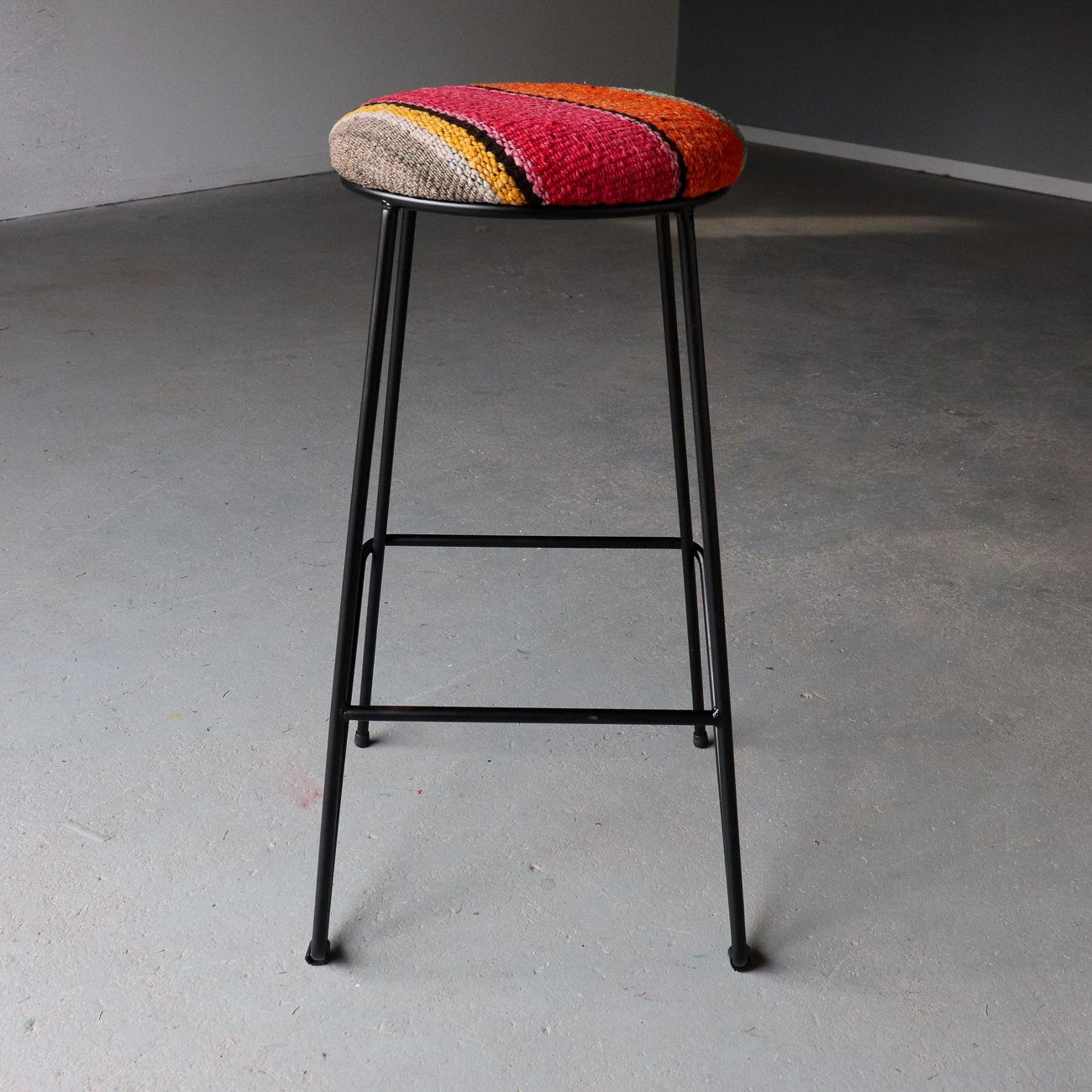 Cool Brightly Coloured Metal Bar Stool Covered In A Peruvian Andrewgaddart Wooden Chair Designs For Living Room Andrewgaddartcom