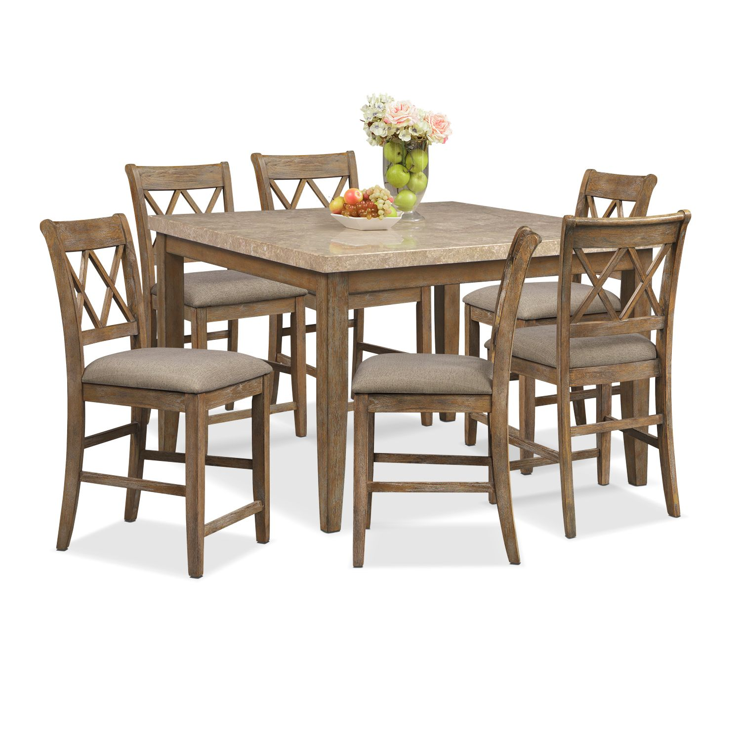Sedona Gray 7 Pc. Counter Height Dining Room | American Signature Furniture