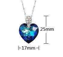 Amazon.com: Pure 925 Sterling Silver Shape Pendant Necklace Austria Swarovski Crystal Pendant Ocean Blue Heart Shape: Arts, Crafts & Sewing