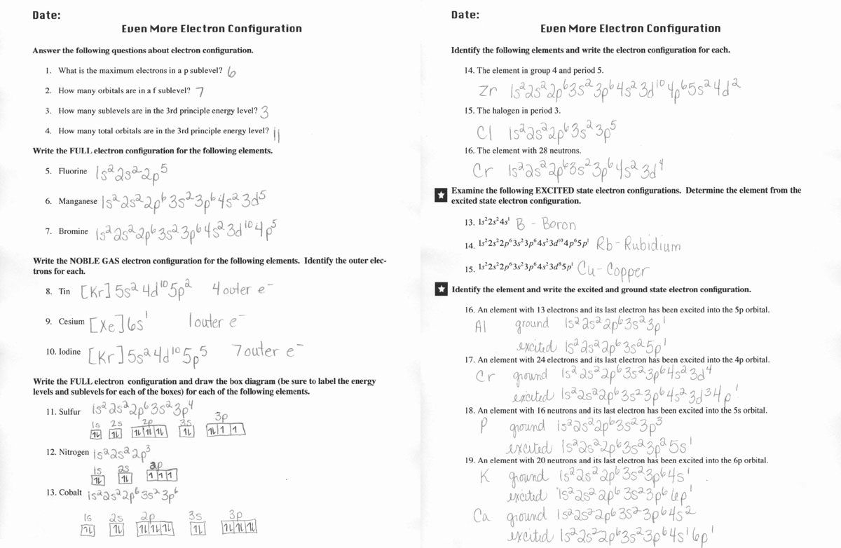 50 Electron Configuration Worksheet Answer Key in 2020