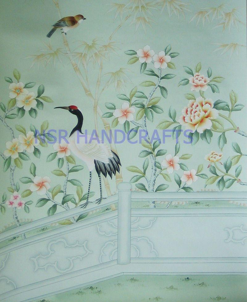 silk wallpaper, hand painted wallpaper, chinoiserie wallpaper, chinese .