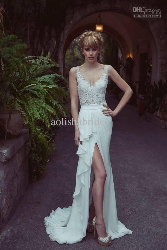Whole Bridal Dress 2017 Best Ing Sheer Straps V Neck Liques Garden Wedding Dresses Y High Beach Gowns Casual