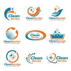 Orange And Blue Clean Service Logo Vector Set Design Cleaning Service Logo Clean Logo Design Vector Logo