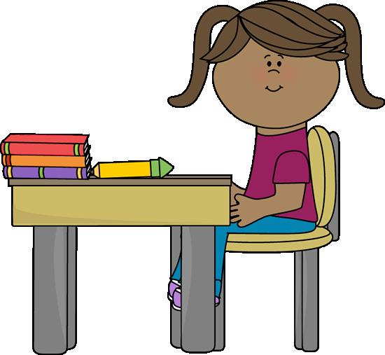 School Girl Sitting At A Desk Clip Art School