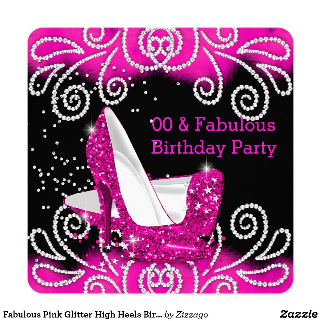 Fabulous Pink Glitter High Heels Birthday Party Invitation