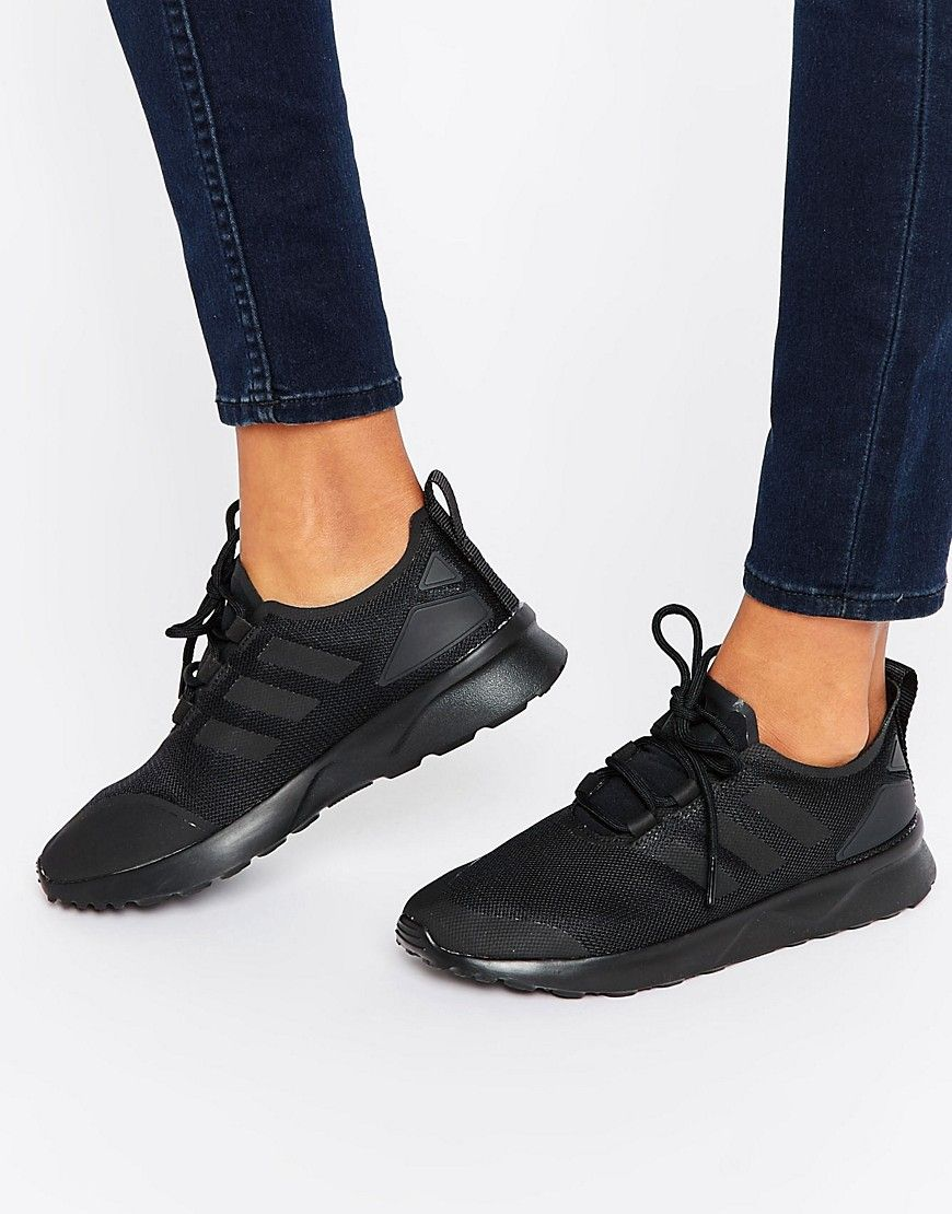 womens adidas black zx flux adv trainers