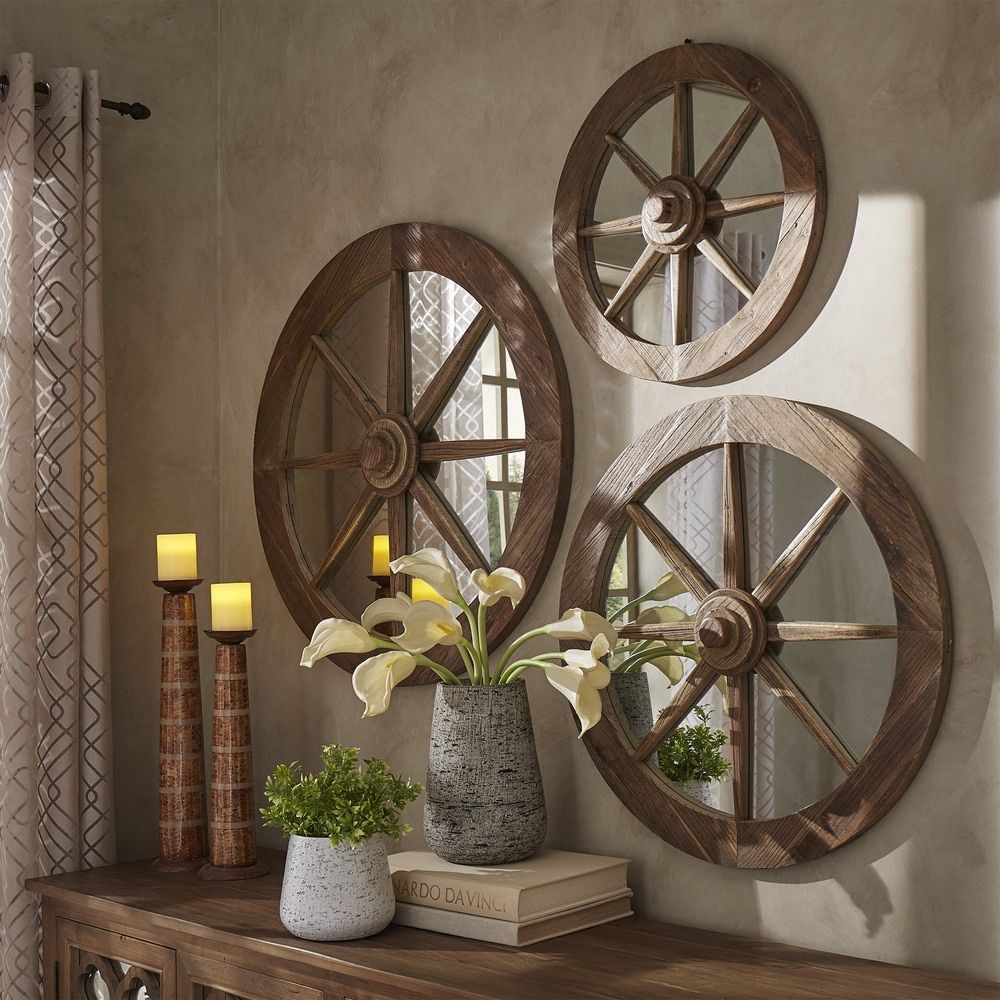 Moravia Round Reclaimed Wood Wagon Wheel Wall Mirror By